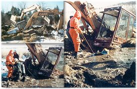 Recovery of 3/4 yd. Crawler Backhoe